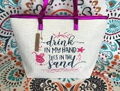 DRINK IN MY HAND LARGE TOTE BAG #CWSB-0103-HOT PINK