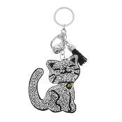 SMILING CAT PUFFY CRYSTAL KEYCHAIN #31258JT-S