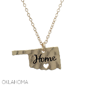 OKLAHOMA HAMMERED HOME PENDANT NECKLACE #16323-G