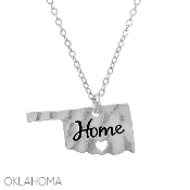 OKLAHOMA HAMMERED HOME PENDANT NECKLACE #16323-S