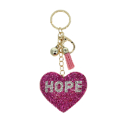 HOPE HEART PUFFY CRYSTAL KEYCHAIN #31256LRO-G