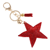 RED STAR PUFFY CRYSTAL KEYCHAIN #31067SI-G