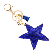 BLUE STAR PUFFY CRYSTAL KEYCHAIN #31067SA-G