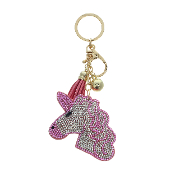 UNICORN HEAD PUFFY CRYSTAL KEYCHAIN #31219RO-G