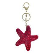 RED STARFISH PUFFY CRYSTAL KEYCHAIN #31144SI-G