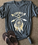 STAY WILD HEATHER CHARCOAL VNECK TSHIRT 2XL