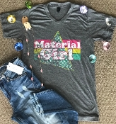 MATERIAL GIRL CHARCOAL HEATHER V-NECK TSHIRT $60 8PK