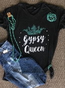 GYPSY QUEEN GRAPHITE HEATHER V-NECK TSHIRT $60 8PK