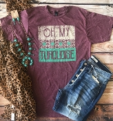 OH MY TURQUOISE CREW NECK HEATHER WINE TSHIRT $60 8PK