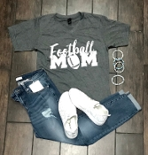 FOOTBALL MOM CHARCOAL VNECK TSHIRTS 2X & 3X $9.50