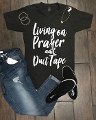 LIVING ON PRAYER AND DUCT TAPE GRAPHITE VNECK 8PK $60