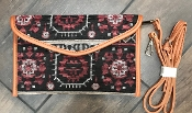 AZTEC BLANKET CROSS BODY HANDBAG #HD3221 BURGUNDY