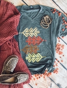 FALLING LEAVES VNECK TSHIRT 8PK $60 HEATHER CHARCOAL