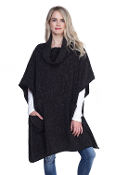 TURTLE NECK POCKET PONCHO WITH POCKETS #MSV0005BLK