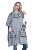 TURTLE NECK POCKET PONCHO WITH POCKETS #MSV0005GR