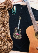 LEOPARD GUITAR SHIRT BLACK VNECK 8PK $60