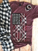 CHRISTMAS FLAG WINE CREW NECK SHIRTS 8PK $60