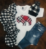 PLAID BUFFALO WHITE V NECK SHIRTS 8PK $60