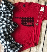 BUFFALO PLAID 1907 OKLAHOMA RED VNECK TSHIRTS 8PK $60