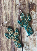 GENUINE LEATHER CACTUS EARRING #SE0351-PT $6.00