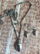 ANTIQUED FOOTBALL NECKLACE SET #SS0110-SB $3.75