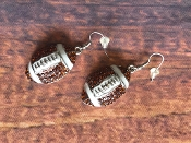CRYSTAL FOOTBALL DANGLE EARRINGS #FE-17168-5BR $5.50