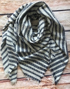 STRIPED BLANKET SCARF #NSF-2101NAVY $5.75