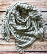STRIPED BLANKET SCARF #NSF-2101GREY $5.75