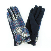 TIED BAND PLAID SMART TOUCH GLOVES #MG0017NAVY $6.50