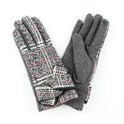 TIED BAND PLAID SMART TOUCH GLOVES #MG0017GREY $6.50
