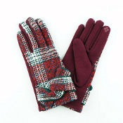TIED BAND PLAID SMART TOUCH GLOVES #MG0017BURGUNDY $6.50