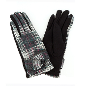 TIED BAND PLAID SMART TOUCH GLOVES #MG0017BLACK $6.50