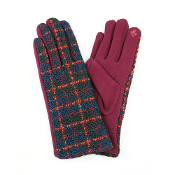 MULTI COLOR PLAID SMART TOUCH GLOVES #MG0016BURGUNDY $6.50
