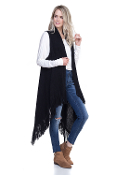 FRINGE KNIT SWEATER VEST #MSV0006BLACK