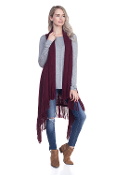 FRINGE KNIT SWEATER VEST #MSV0006BURGUNDY
