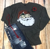 SANTA PLAID HAT LONG SLEEVE T 2XL $11.50