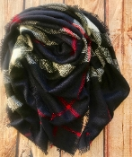 PLAID BLANKET SCARF #BLSF-NAVY $5.75