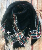 PLAID BLANKET SCARF #BLSF-BLACK $5.75