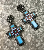 NAVAJO PRINT EARRINGS #SE0603SBMUL $6.50