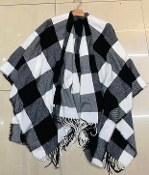BUFFALO PLAID PONCHO #BLACK/WHITE $14.50