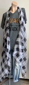 PLAID VEST BLACK/WHITE #PN222X041 $6.50