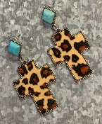 LEOPARD CROSS TQS POST EARRINGS #SE0480LTLEO $5.75