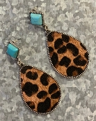 LEOPARD HIDE & TQS POST EARRING #SEO0481-DKLEO $5.75