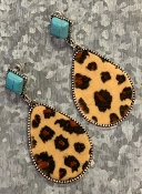 LEOPARD HIDE & TQS POST EARRING #SEO0481-LTLEO $5.75
