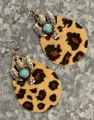 LEOPARD HIDE & CACTUS EARRINGS #SE0484-LTLEO $4.50