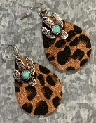 LEOPARD HIDE & CACTUS EARRINGS #SE0484-DKLEO $4.50