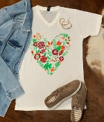 FLORAL HEART WHITE  VNECK TSHIRT 2XL $9.50