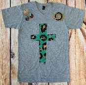LEOPARD CROSS GREY VNECK TSHIRTS 8PK $60