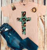 LEOPARD CROSS CORAL CREW NECK TSHIRT SIZE 2XL  $9.50