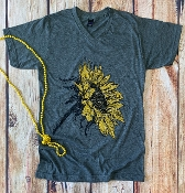 BE BEAUTIFUL SUNFLOWER CHARCOAL VNECK TSHIRT 8PK $60